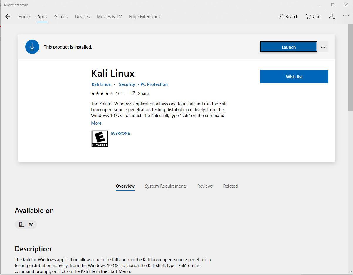 Installing Kali Linux in Windows through Microsoft Store