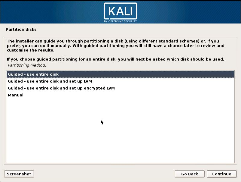 Installing Kali 15