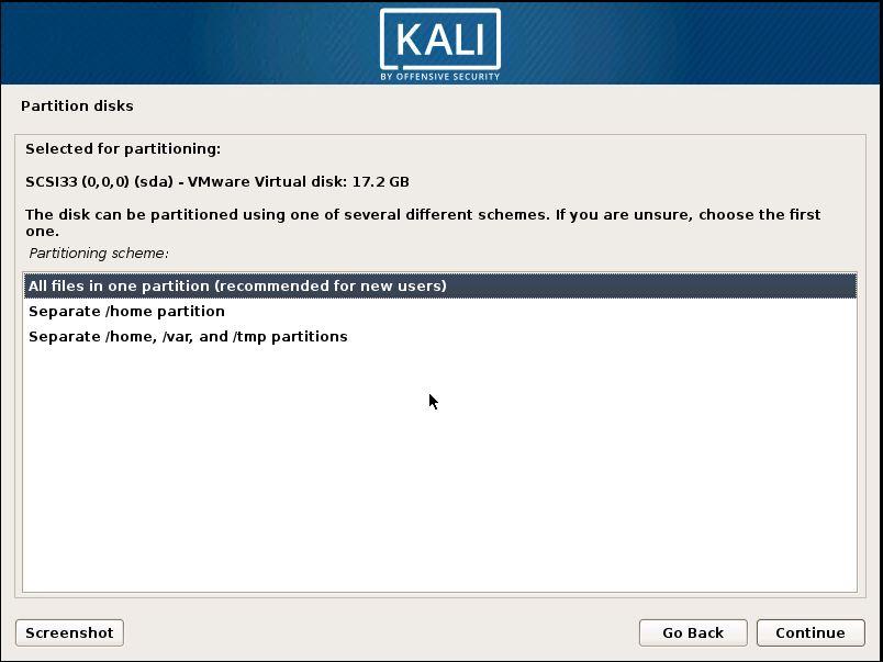 Installing Kali 17