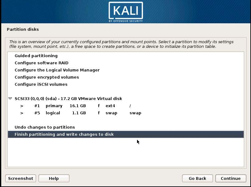 Installing Kali 18