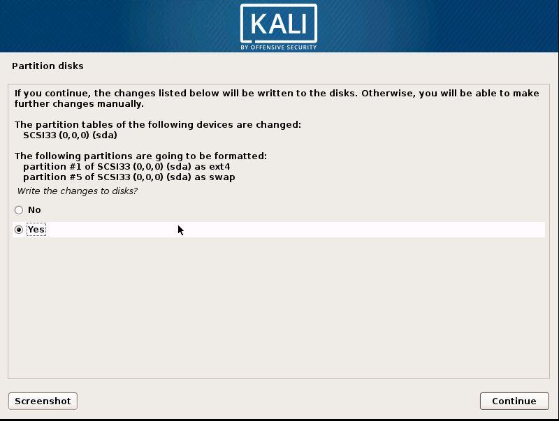 Installing Kali 19