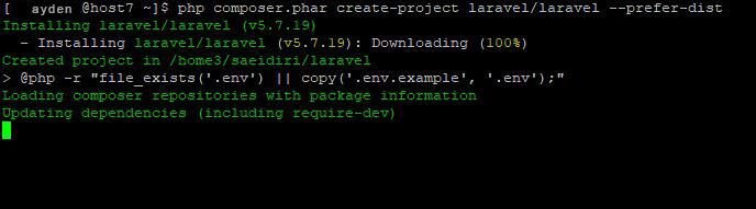 Installing Laravel on cPanel through SSH