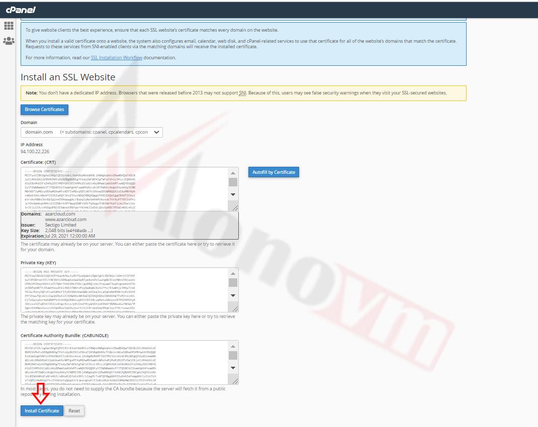 Installing sectigo SSL on CPanel-15