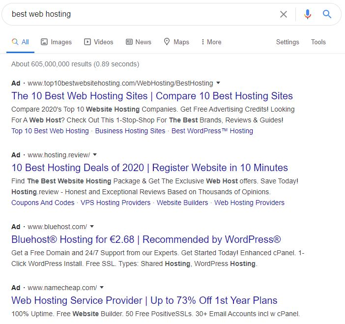 Paid google ads on top of serp