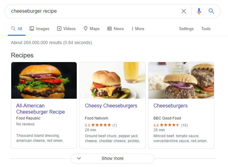 rich snippet feature on google serp