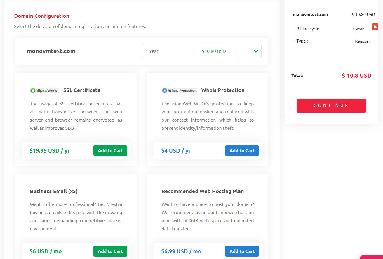 domain configuration page