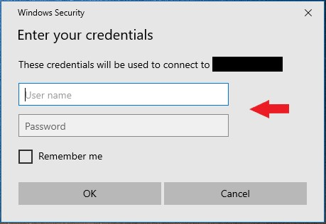 entering remote desktop credentials