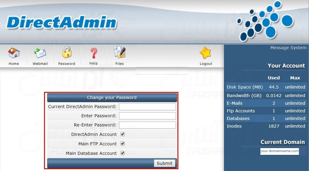 Changing the Password in DirectAdmin